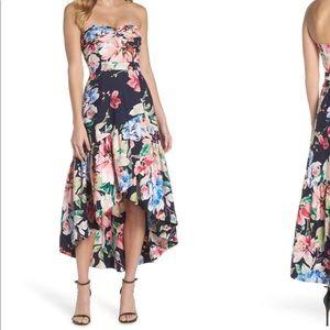 Eliza J Blue strapless high/low dress